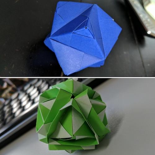 12 unit sonobe pieces, using different folds