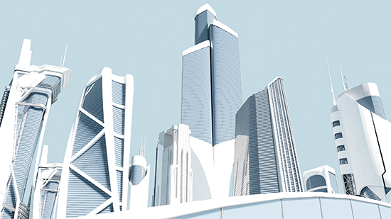A futuristic utopia city with a strange, cel-shaded look to it.