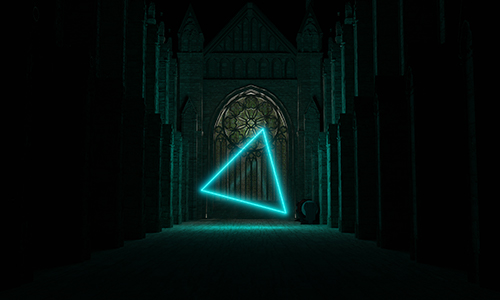 A dark temple leading to a large stain-glass window. In front of it is a gigantic glowing triangular being.