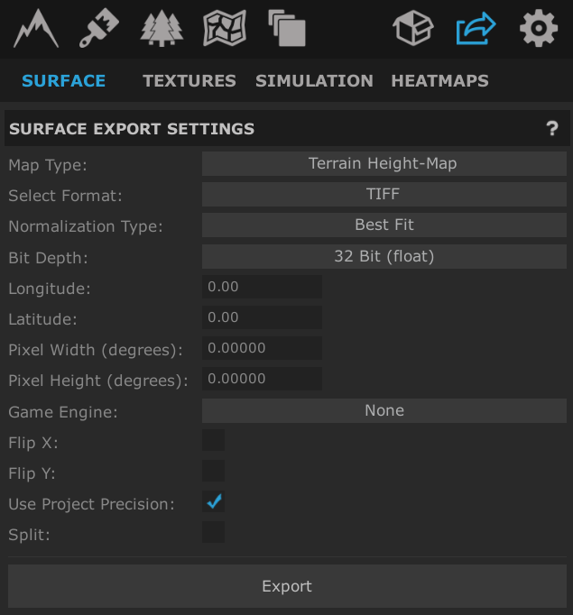 World Creator 2 export settings for the surface terrain.