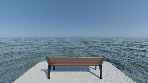 A bench sits on a textured concrete protrusion above the sea, staring out into infinity.