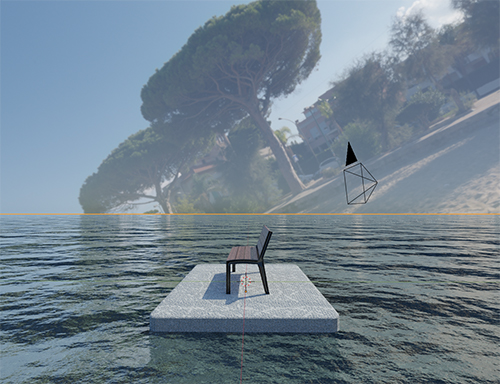 A Blender workspace showing a tilted HDRI to see more of the horizon in the visible image.