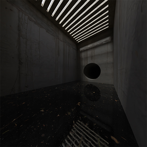Inside a storm drain, slowly filling with dank, dark water. A gridded roof shows a grey sky outside and a dark pipe leads away from this chamber.