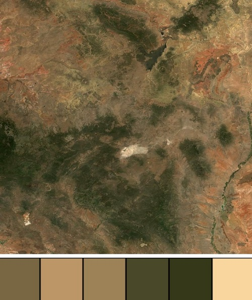 Sentinel-2 image and associate colour palette